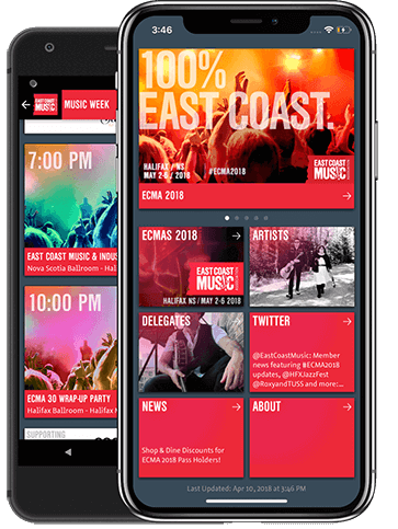 The East Coast Music Association app running on Android and iOS